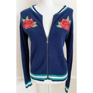 American Eagle Zip Up Embroidered Floral Cardigan